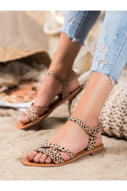 Hnedé sandále s plochou podrážkou Shelovet kod HTY-3BE