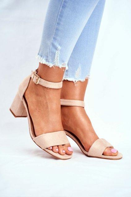 Dámske sandále na podpätku farba hnedá kód obuvi 20-17058 BEIGE