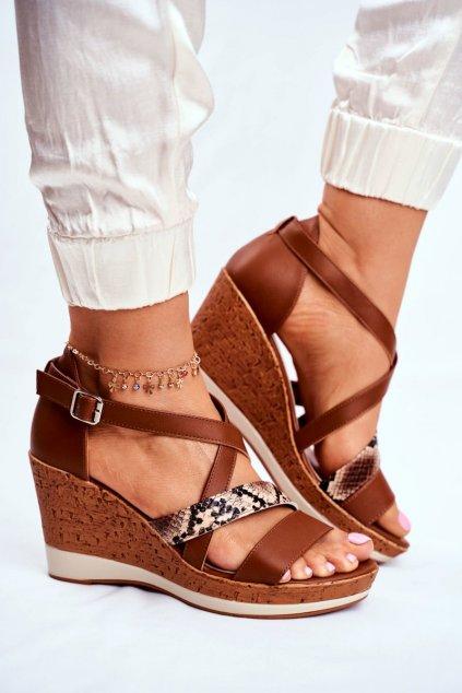 Dámske sandále na platforme farba hnedá kód obuvi SK309 BROWN MIX
