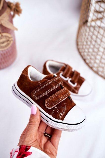 Detské tenisky farba hnedá kód obuvi QC65 BROWN