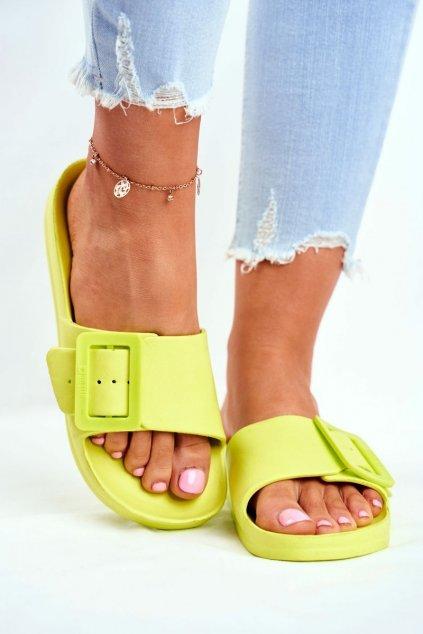 Dámske šľapky farba zelená kód obuvi FF274A390 GREEN