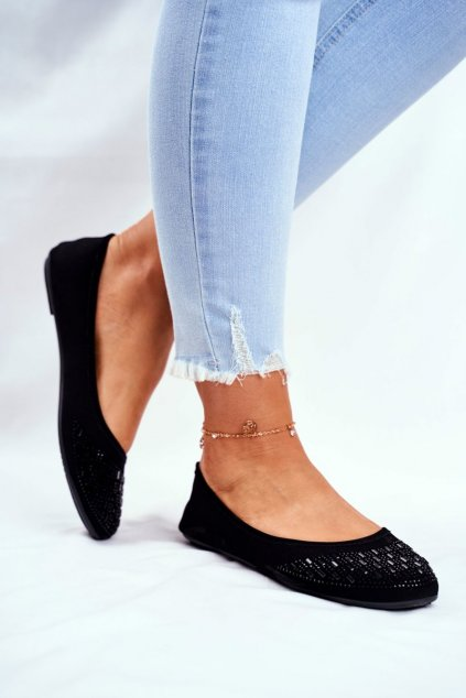 Dámske balerínky farba čierna kód obuvi A5739 BLK