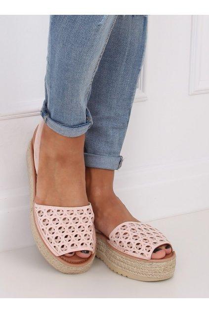 Dámske sandále ružové na plochom podpätku WH931