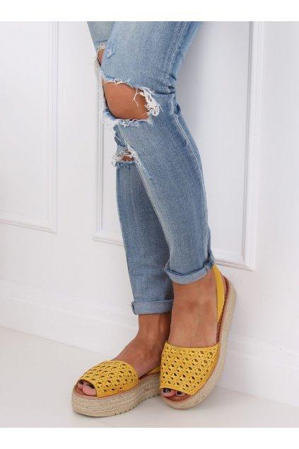 Dámske sandále žlté na plochom podpätku WH931