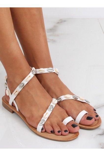 Dámske sandále s plochou podrážkou biele na plochom podpätku JH121