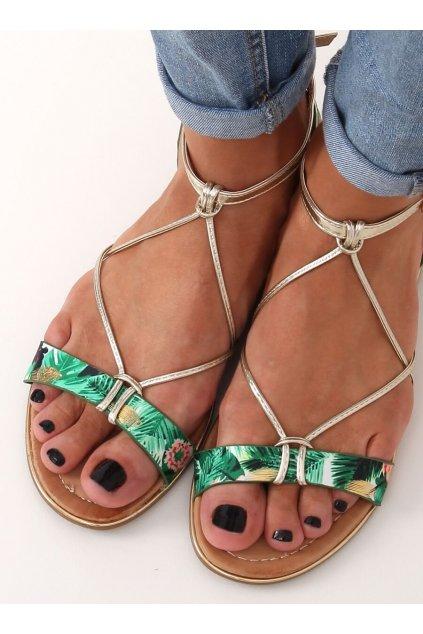 Dámske sandále s plochou podrážkou zelené na plochom podpätku JH125P