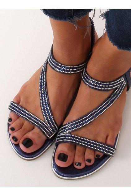 Dámske sandále modré na plochom podpätku KM-33