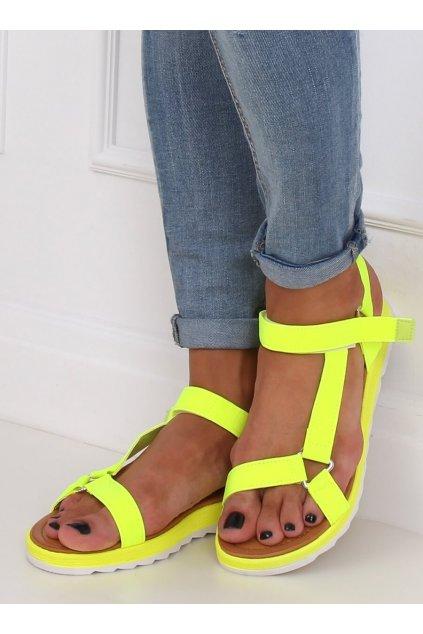 Dámske sandále žlté na plochom podpätku WS9027