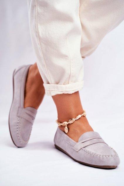 Dámske mokasíny farba sivá kód obuvi CD-66 GREY