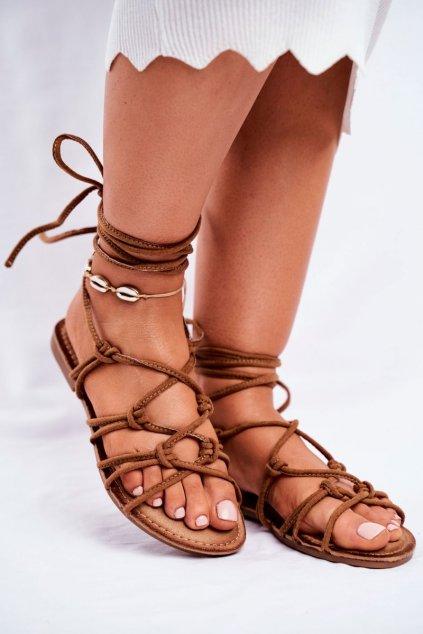 Dámske ploché sandále farba hnedá kód obuvi CK152 CAMEL