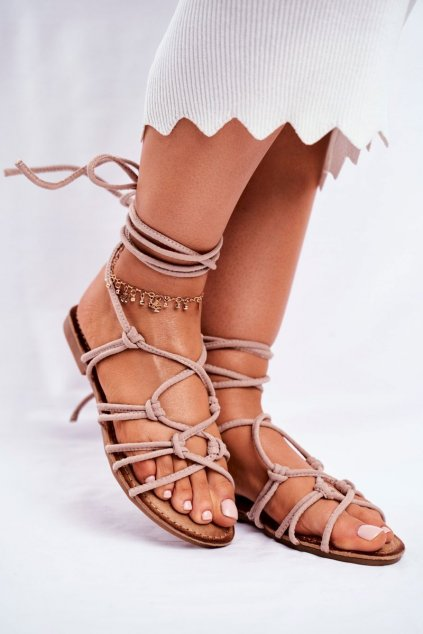 Dámske ploché sandále farba hnedá kód obuvi CK152 BEIGE