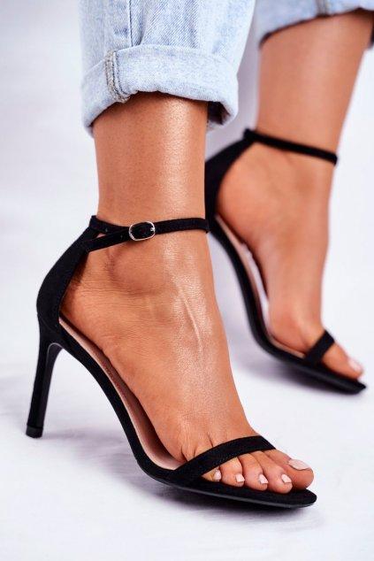 Dámske sandále na podpätku farba čierna kód obuvi NF31 BLK