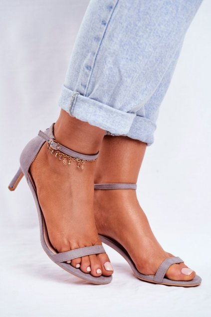 Dámske sandále na podpätku farba sivá kód obuvi NF34 GREY