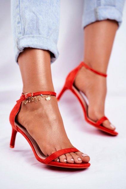 Dámske sandále na podpätku farba červená kód obuvi NF34 RED