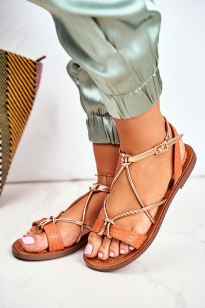 Dámske Sandále elegantné Oranžové Alison NJSK L20
