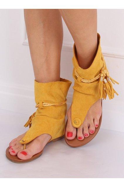 Dámske sandále žlté na plochom podpätku NJSK SL1011