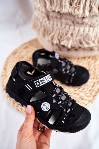 Detské Sandále B. Star na suchý zips čierne NJSK FF374210