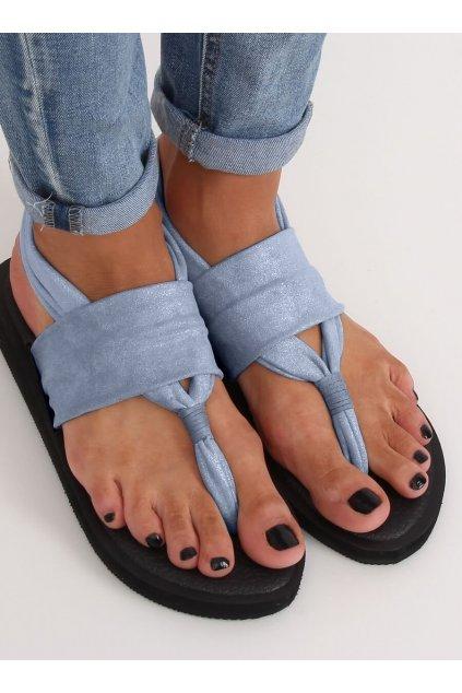 Dámske sandále modré na plochom podpätku NJSK DD81P