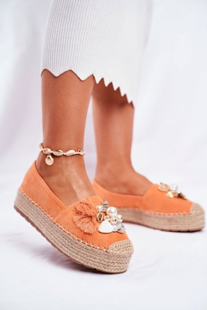Dámske espadrilky farba oranžová kód obuvi JH120 ORANGE