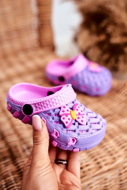 Detské šľapky farba fialová kód obuvi 6301 PURPLE/PINK