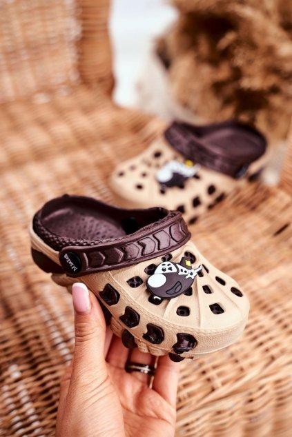 Detské šľapky farba hnedá kód obuvi S6501 YELLOW/BROWN