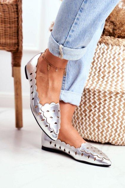 Dámske balerínky farba sivá kód obuvi 128-146 SILVER