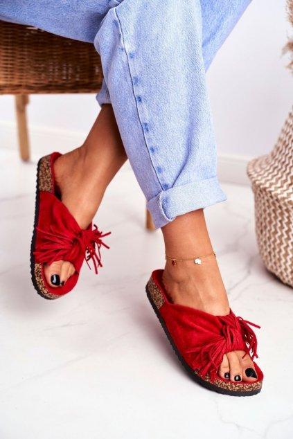Dámske šľapky farba červená kód obuvi AM027 RED