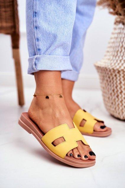 Dámske šľapky farba žltá kód obuvi G-583 YELLOW