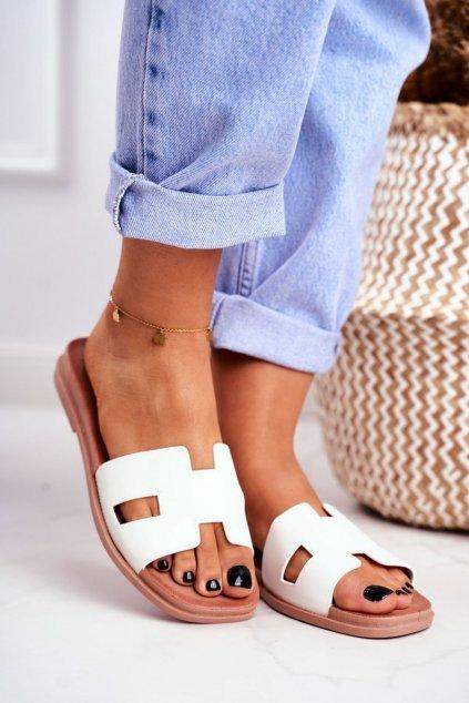 Dámske šľapky farba biela kód obuvi G-583 WHITE