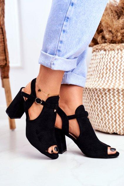 Dámske sandále na podpätku farba čierna kód obuvi 100-993SA-2 BLACK