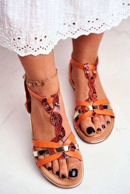 Dámske sandále s plochou podrážkou farba oranžová kód obuvi JH128 ORANGE