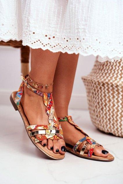 Dámske sandále s plochou podrážkou farba oranžová kód obuvi JH128 FLOWER.ORANGE