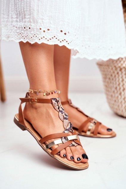 Dámske ploché sandále farba hnedá kód obuvi JH128 SN.CAMEL