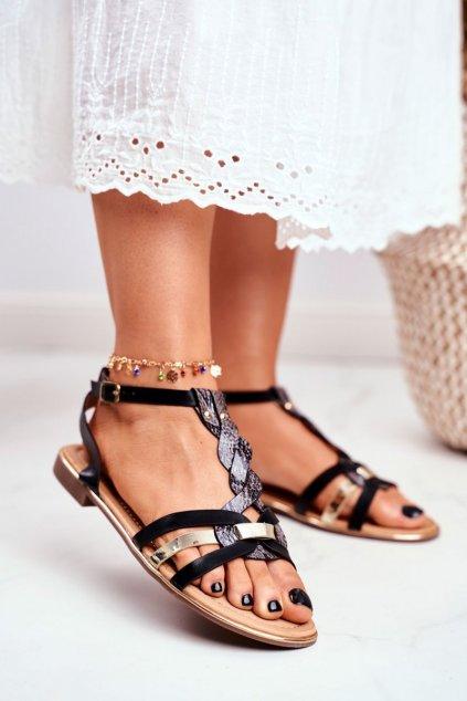 Dámske ploché sandále farba čierna kód obuvi JH128 BLACK