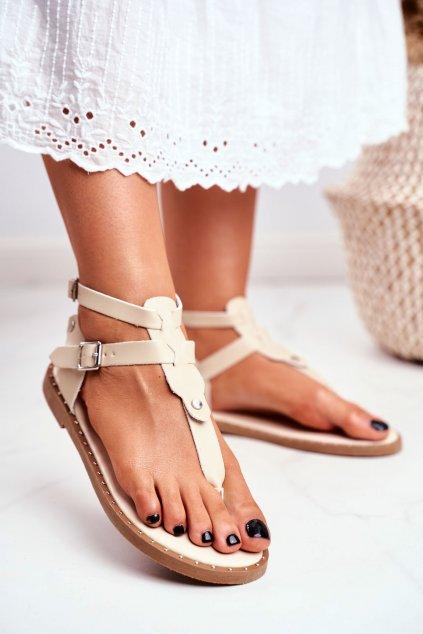 Dámske ploché sandále farba hnedá kód obuvi B12-5 APRICOT