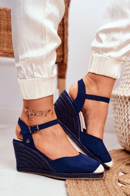 Dámske sandále na platforme farba modrá kód obuvi DD274A172 NAVY