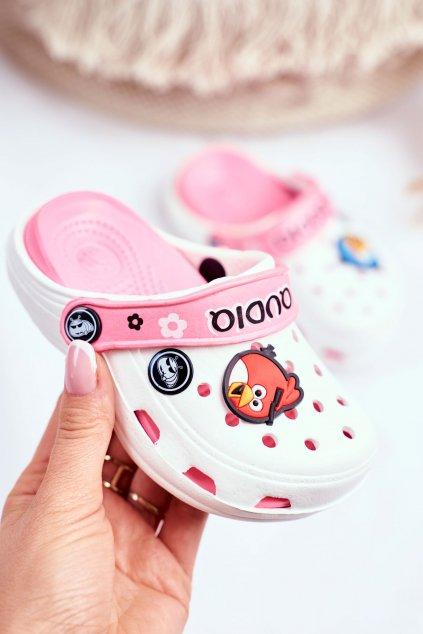Detské šľapky farba biela kód obuvi 1127 White/Pink
