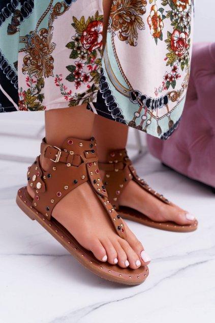 Dámske ploché sandále farba hnedá kód obuvi 20173-18 CAMEL