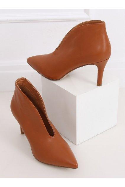 Dámske členkové topánky hnedé na ihlovom podpätku NS126P