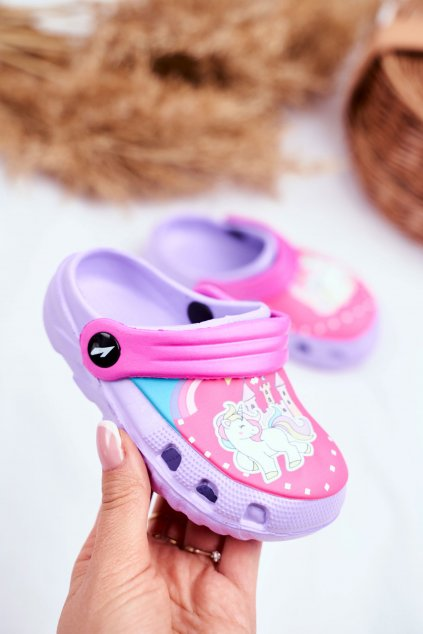 Detské šľapky farba fialová kód obuvi 6326-1 / 6326 PURPLE/FUSHIA