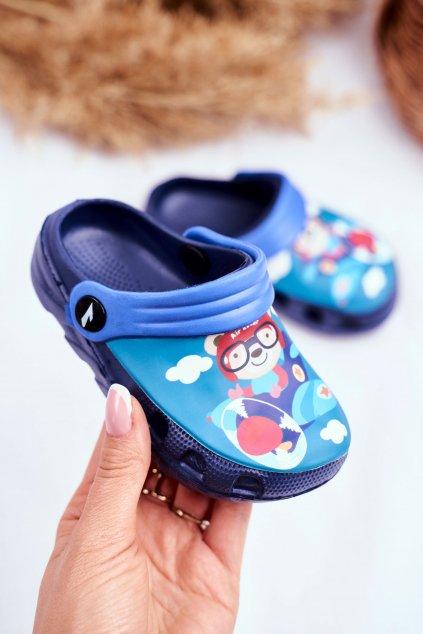 Detské šľapky farba modrá kód obuvi 6326-1 / 6326 NAVY/ROYAL