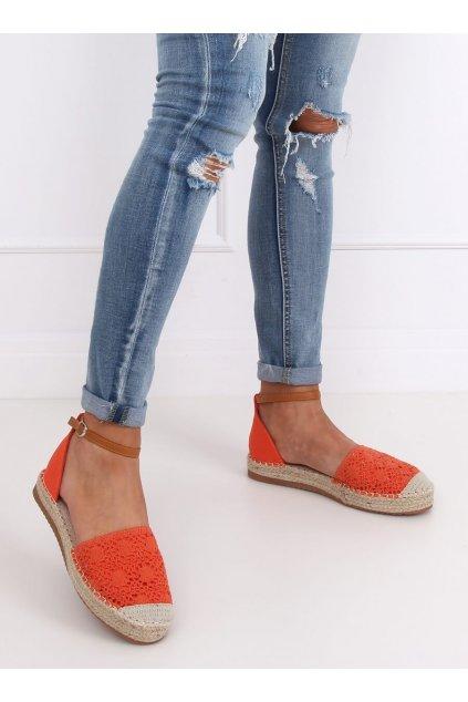 Dámske sandále oranžové na plochom podpätku NJSK 3035