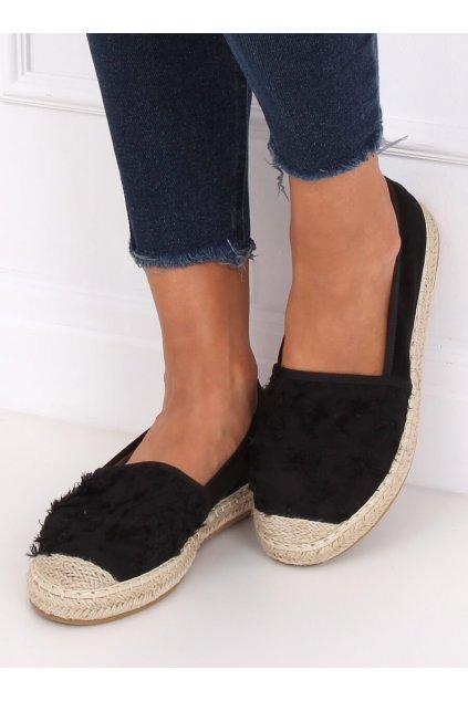Dámske sandále čierne na plochom podpätku NJSK BB29