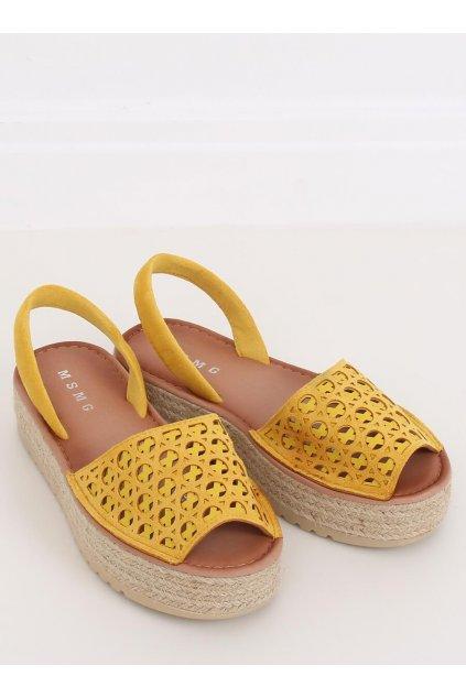 Dámske sandále žlté na plochom podpätku NJSK WH931