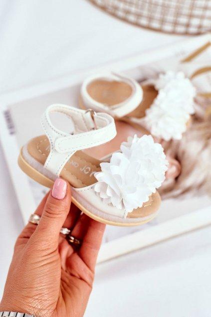 Detské Sandále se Suchým Zipem Zářící biele Milena NJSK 243-2B