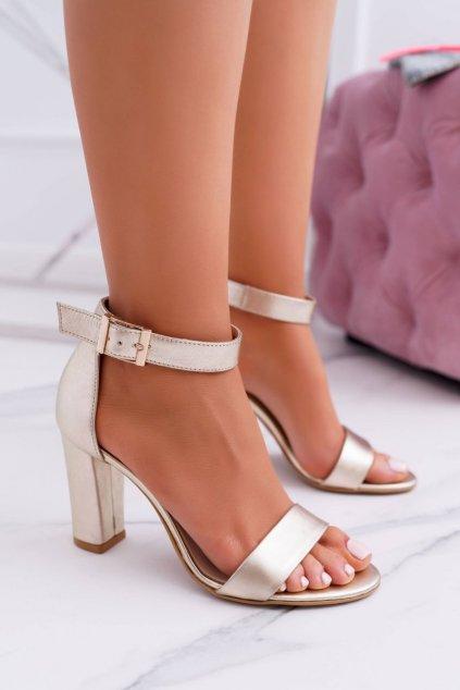Dámske Sandále na podpätku Laura Messi NJSK 1760 Kožené Zlaté Iliady