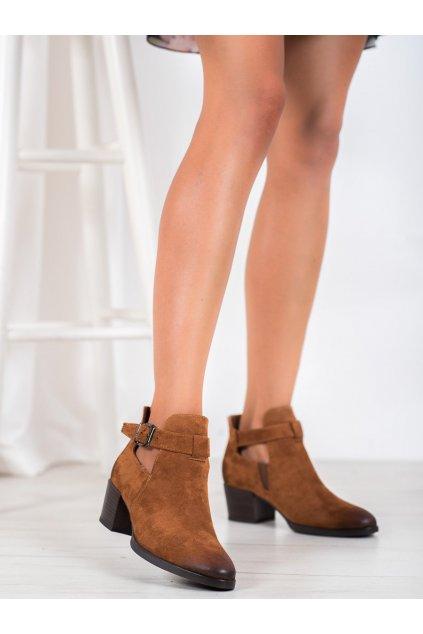 Hnedé dámske topánky Vinceza kod XY21-10546C