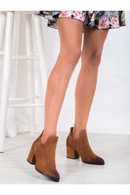 Hnedé dámske topánky Vinceza kod XY21-10558C
