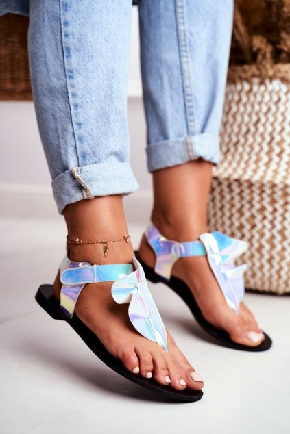 Dámske sandále s plochou podrážkou farba modrá kód obuvi 886-B2 MULTI