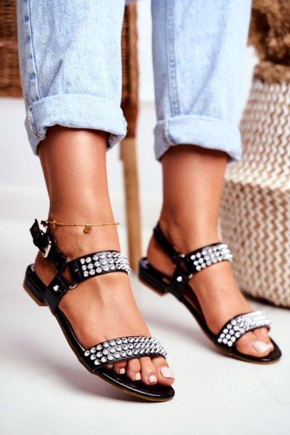 Dámske ploché sandále farba čierna kód obuvi 20173-21 BLK